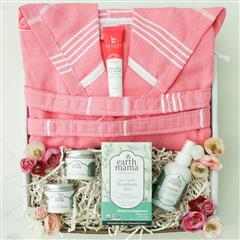 New Mom's Essential gift basket contains a Pestemal natural cotton Bath Robe, earth mama Organic Heartburn Tea, Organic Perineal Balm, organic Belly Oil, beauty by earth Coffee Bean Eye cream, Organic Nipple Butter in our signature gift box.