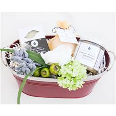 Appreciation Spa Basket contains a handmade with organic ingredients, vegan soap,  organic sugar scrub, all natural, preservative free bath bomb in a red metal planter