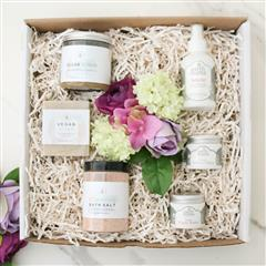 beautiful gift for new mom which includes great selection of natural and organic self care products. Stunning Allure Spa Gift Basket features Cherry Almond foaming bath salt, vegan Chamomile Neroli soap and Fair Trade Organic sugar scrub. Organic Nipple butter, Perineal Balm and Natural Belly Oil are gentle on the skin and are necessary for new mom daily self care routine. Make it special  by including your personalized message at checkout.