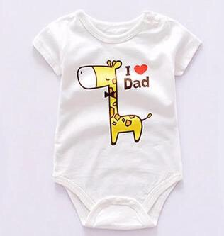"This cute and comfortable Baby Bodysuit, ""I love Dad"", is made of 100% high quality breathable cotton with NO formaldehyde or heavy metals. It has two snaps at the shoulder for an easy slip in and snaps at the bottom for a convenient diaper change. Keeps baby skin dry and protected."