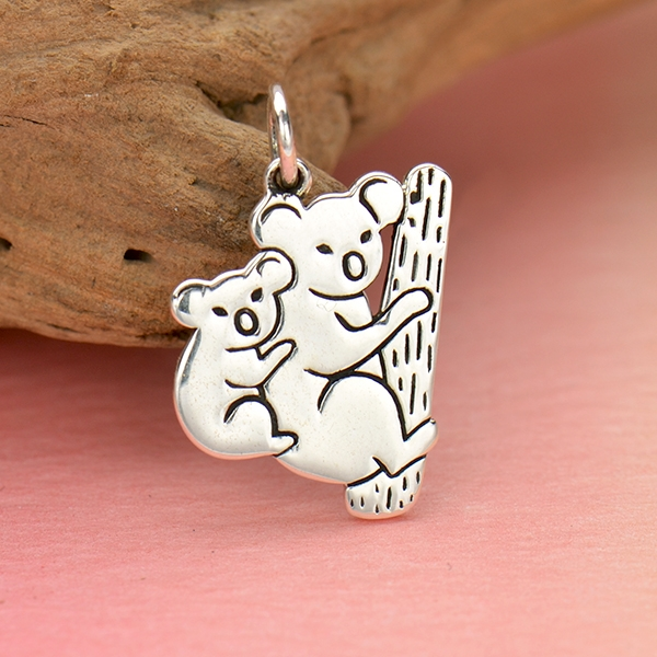 Koala Bear Mom and Baby Sterling Silver Charm and Chain