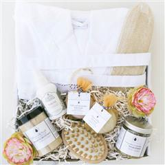 New Mom Spa Day gift basket that contains a Pestemal Bath Robe, Clean Cotton All Natural Bath Bomb, Lavender All Natural Bath Bomb, Hand Held Body Massager, Large Loofah Back Scrubber,Chamomile Neroli with Organic Aloe Powder and Chamomile Extract Foaming Bath Salt, Evergreen Lavender Sugar Scrub ,Belly Oil