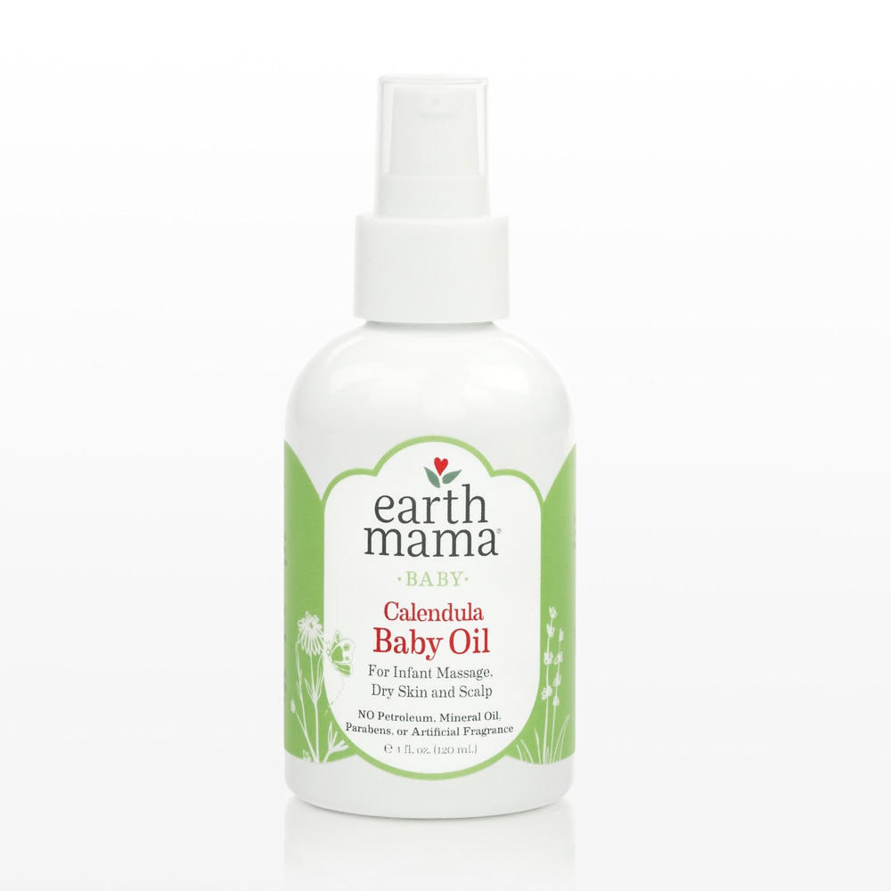 Earth Mama Calendula Baby Oil for infant massage, dry skin and skalp.