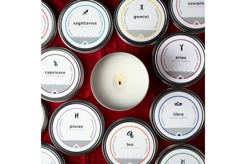 soy coconut blend Zodiac Candle, Aquarius, Jan 20-Feb 18, Lime and Basil
