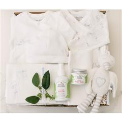 Welcome Baby Preemie gift basket that contains Organic Diaper Balm, Calendula Baby Oil, Long Sleeve Side Snap Bodysuit, Side Snap Footie with Stork Embroidery Preemie,Burp Cloths,Swaddle Blanket with Stork Embroidery,Baby Beanie with Stork Embroidery Newborn,Stuffed Stork Plush Animal Toy