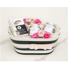 New Mom Postpartum gift basket includes Earth Mama perineal balm, Earth Mama nipple balm, all natural handmade soap,chamomile Neroli, and all natural beeswax lip balm