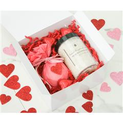 Love is all you need gift box includes dead sea bath salt,bath bomb chocolate hearts and personalized message