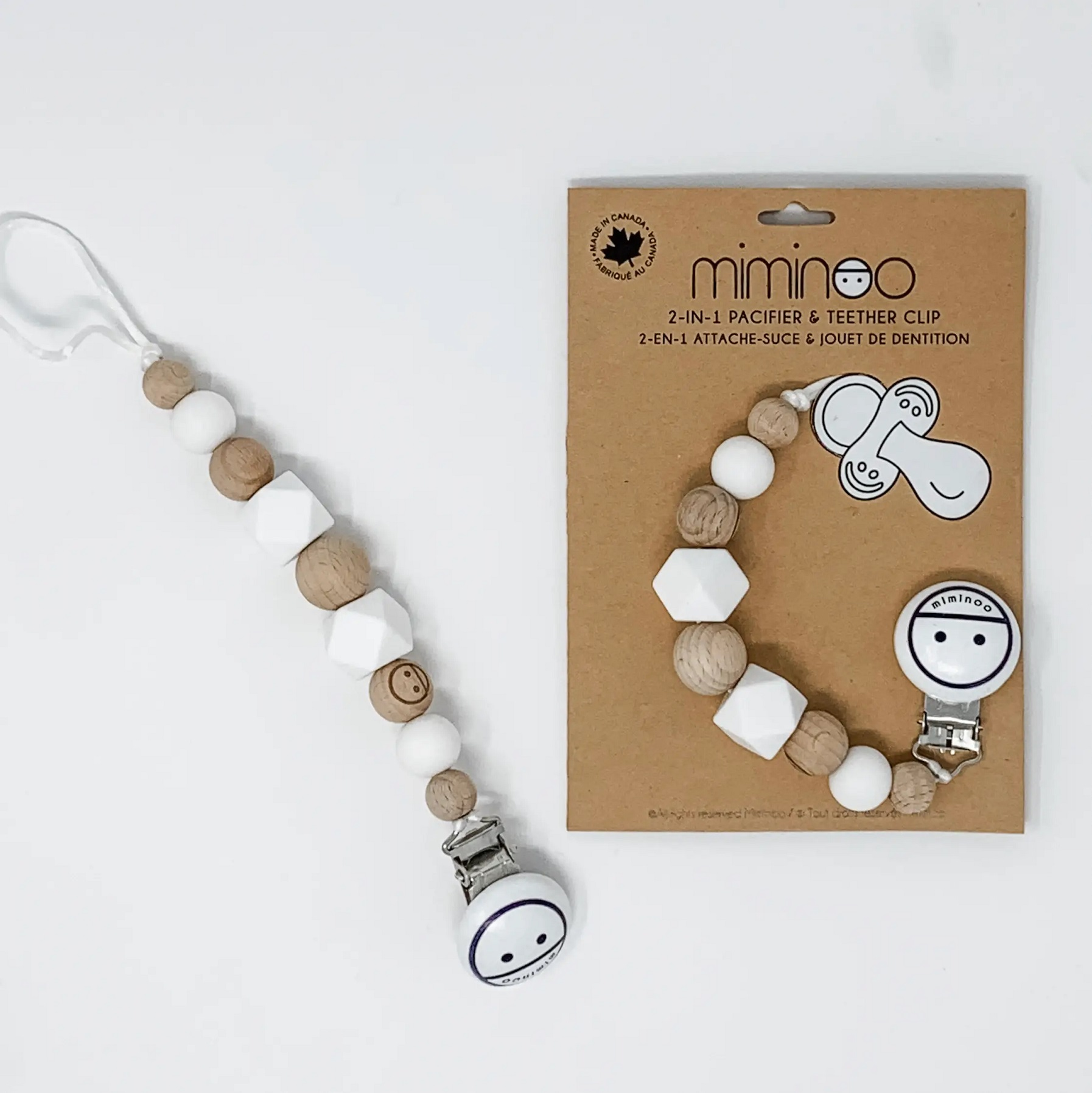 Miminoo Engraved beads - 2-in-1 baby teether and pacifier clip