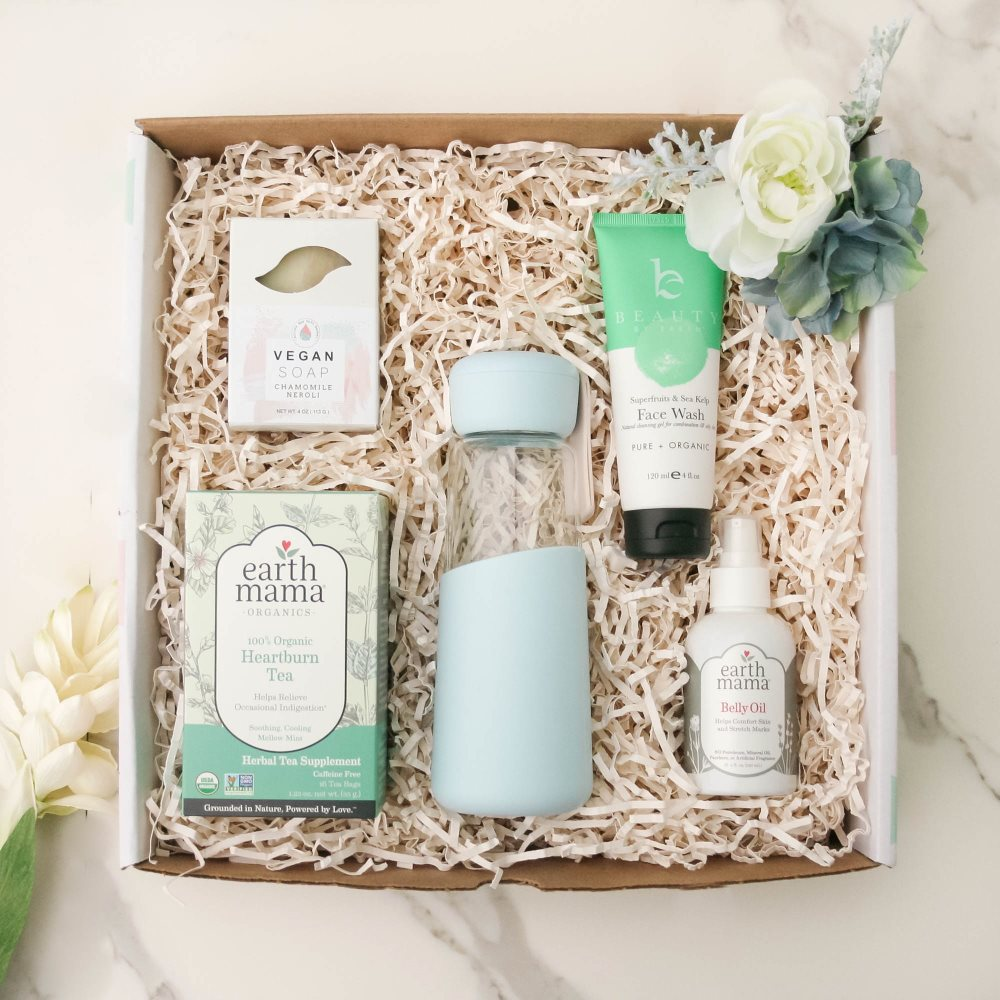 Active Mom Essentials gift basket filled with Allure Eco Water Bottle, Earth Mama Belly Oil, Organic Tea, Natural Face Wash, Vegan Soap, Handmade,
